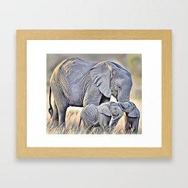 Elephant Family Airbrush Artwork Framed Art Print