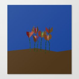 Flower Profiles with Stems (blue) Canvas Print