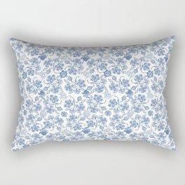 Pretty Indigo Blue and White Ethnic Floral Print Rectangular Pillow