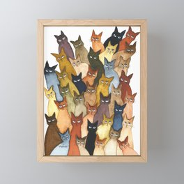 Many Whimsical Cats Framed Mini Art Print