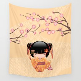 Japanese Ume Kokeshi Doll Wall Tapestry