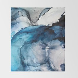White Sand Blue Sea - Alcohol Ink Painting Throw Blanket