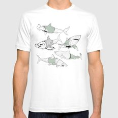 Business Casual Sharks White Mens Fitted Tee MEDIUM