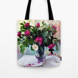 Rose Vase Still Life Tote Bag