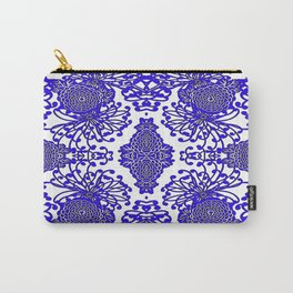 Vintage Blue-Purple  White Floral Spider Mums Art Carry-All Pouch