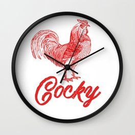 Cocky Big Red Rooster Humorous Print Wall Clock