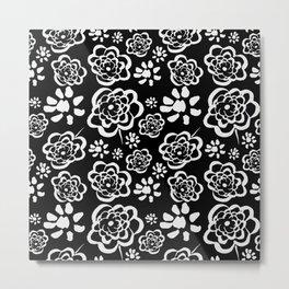 Flowers on Black Metal Print