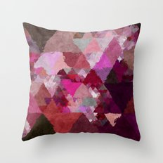 When the night comes- Dark red purple triangle pattern- Watercolor Illustration Throw Pillow