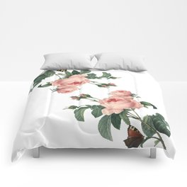 Butterflies in the Rose Garden on White Comforters
