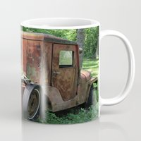 jeep Mugs featuring Red Jeep with Flowers by Julia Leffelman