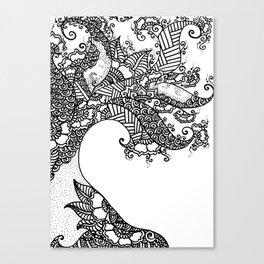 Zen Tree Rebirth White Right Half Canvas Print