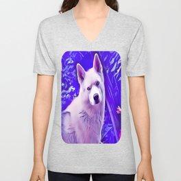 Isabella White Siberian Husky Unisex V-Neck