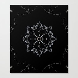 Nocturne // Minimal Simple Geometric Abstract Star Pattern Dark Boho Winter Snowflake Canvas Print