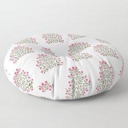 Indian Floral Motif Pattern - Pink Floor Pillow