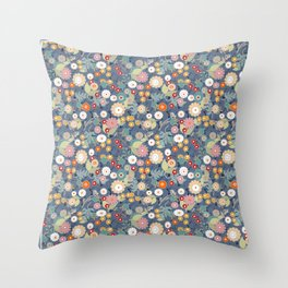 Colorful flowers on a denim background. Throw Pillow