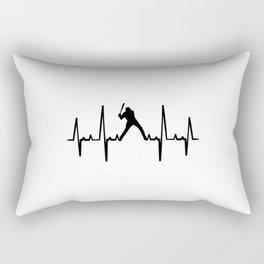 Baseball Heartbeat T Shirt Baseball TShirt Pitcher Shirt Heart Beat Gift Idea Rectangular Pillow