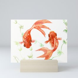 Koi Fish, Feng Shui, Goldfish art, Two fish, Mini Art Print