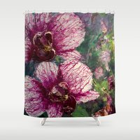fierce Shower Curtains featuring Fierce Orchid by susanhubenthal