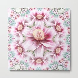 peony flower mandala Metal Print