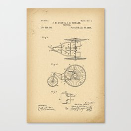 1895 Patent Bicycle Velocipede Canvas Print