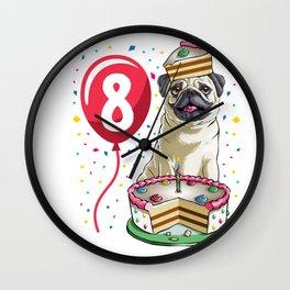 Pug Birthday Cake Balloon 8 Wall Clock