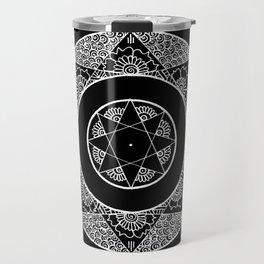Flower Star Mandala - Black White Travel Mug