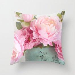 Paris Pink Peonies Bouquet Throw Pillow