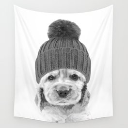 Black and White Cocker Spaniel Wall Tapestry