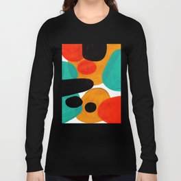 Mid Century Modern Abstract Minimalist Retro Vintage Style Rolie Polie Olie Bubbles Teal Orange Long Sleeve T-shirt