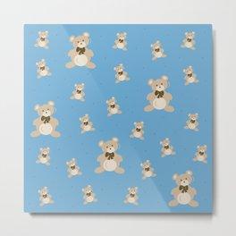 Teddy Bears - Blue Metal Print