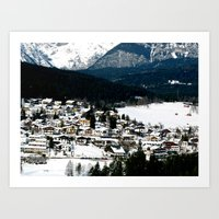 ski Art Prints featuring ski resort by luiza13
