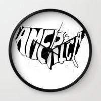 america Wall Clocks featuring AMERICA by Kris Petrat Design :  Art Love Moto