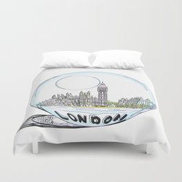 London painted in pastel colours in a glass bowl Duvet Cover