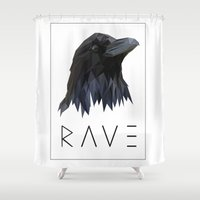 raven Shower Curtains featuring RAVEN by MGNFQ