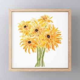 yellow and orange sunflower bouquet 2021  Framed Mini Art Print