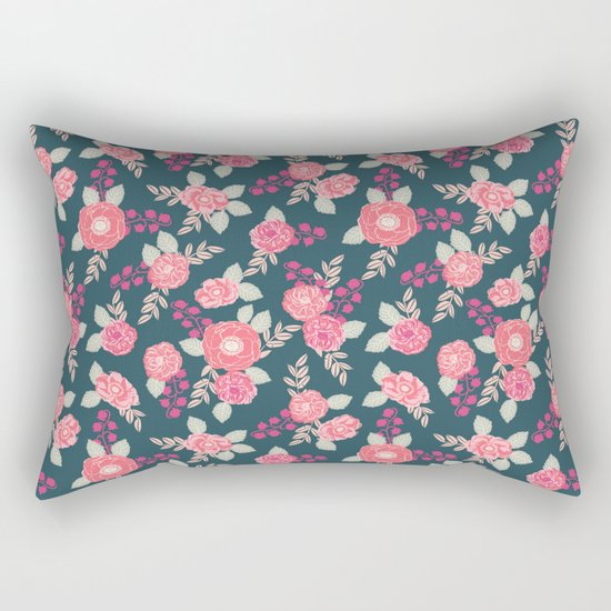 Ranunculus gardener garden floral flowers boho navy pink pastel cute pattern dorm college trendy Rectangular Pillow
