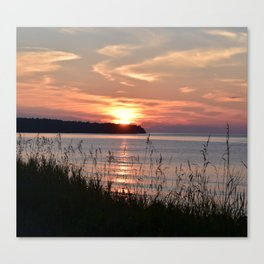 Sunset on the shore of Lake Superior Canvas Print