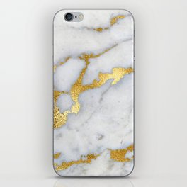White and Gray Marble and Gold Metal foil Glitter Effect iPhone Skin