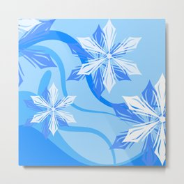 Winter Blue Christmas Flower Metal Print