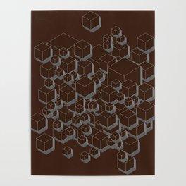 3D Futuristic Cubes VI Poster