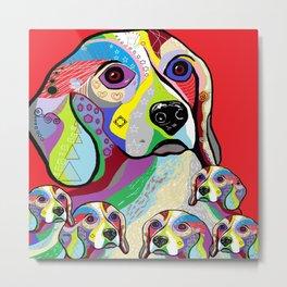 Beagle and Babies Metal Print