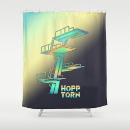 Diving Tower Retro Vector Shower Curtain