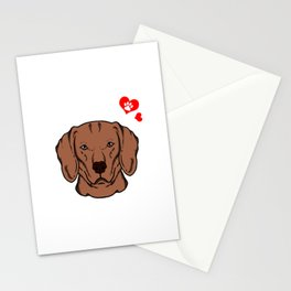 Love Vizsla Dog Owner Paw Heart Gift Stationery Cards