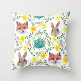 Easter Bunny & Spring fox with spring flowers Throw Pillow