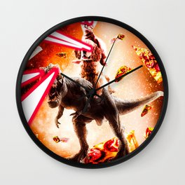 Laser Eyes Space Cat Riding Dog And Dinosaur Wall Clock