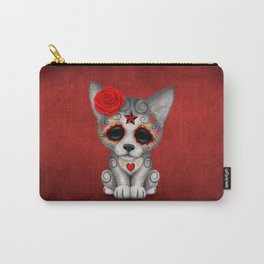Red Day of the Dead Sugar Skull Wolf Cub Carry-All Pouch
