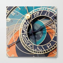 Ancient Medieval Astrological Clock Czech Metal Print