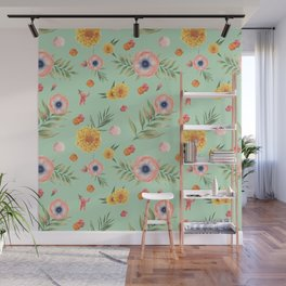 Hand painted coral yellow watercolor geometric floral Wall Mural
