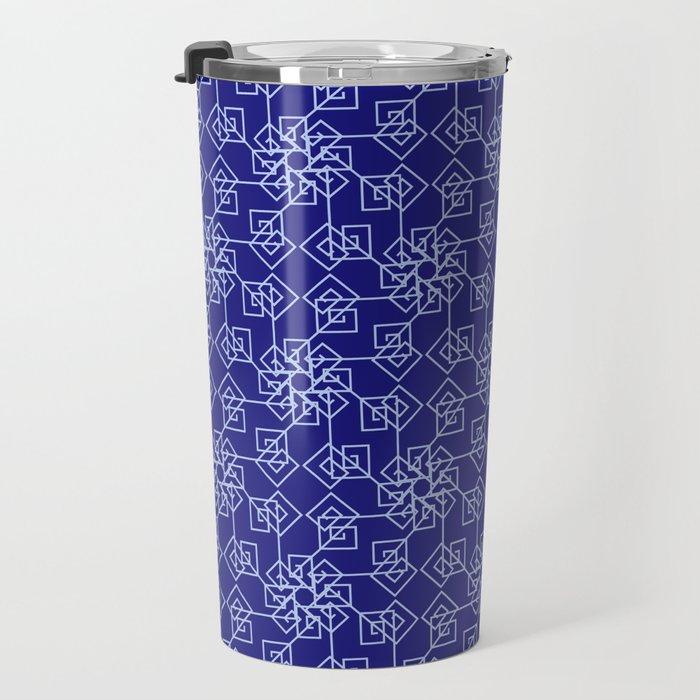 Blue geometric pattern Travel Mug