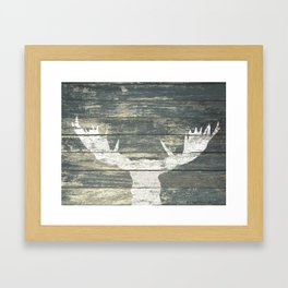 Rustic White Moose Silhouette A424a Framed Art Print